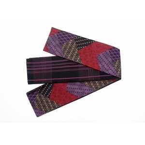 オリジナル細帯 清翔 裂取り幾何学 SGHO-001 紫×エンジ