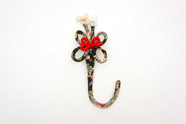 華かざり39 ベーシックミニ(柄物) 黒(花柄)
