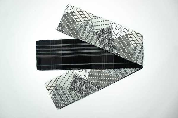 オリジナル細帯 清翔 裂取り幾何学 SGHO-002 黒×グレー