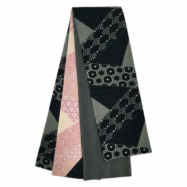 きりばみ調 吉祥幾何学 黒×ピンク